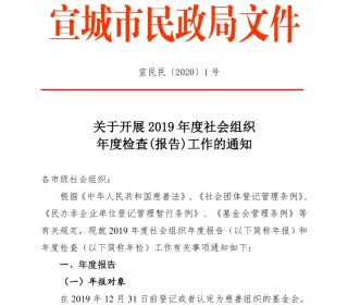 关于开展2019年度社会组织年度检查(报告)工作