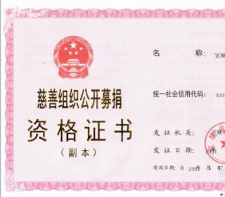 宣城首发慈善组织公募资格证书